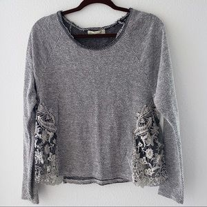 Gray & black sweater with lace